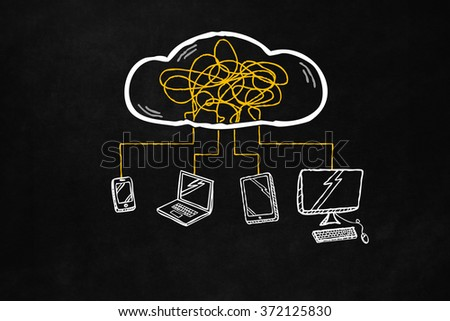 Cloud and sharing connections for hi-tech device. Sharing online data through wireless connection. Hand drawn cloud connection with smartphone, tablet, laptop and desktop pc isolated on blackboard. - stock photo