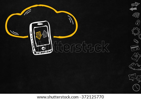 Cloud and sharing connections for smartphone. Sharing online data through internet with network and wireless connection. Hand drawn cloud connection with smartphone isolated with copyspace. - stock photo