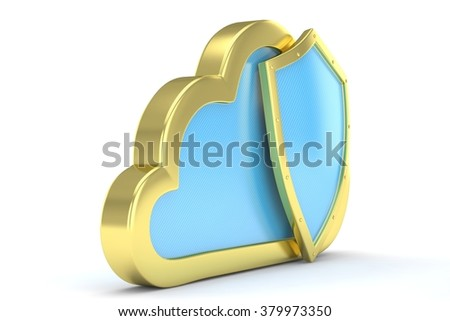 cloud and shield, cloud security concept
