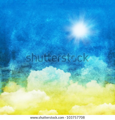 cloud and sky ,yellow and blue background - stock photo
