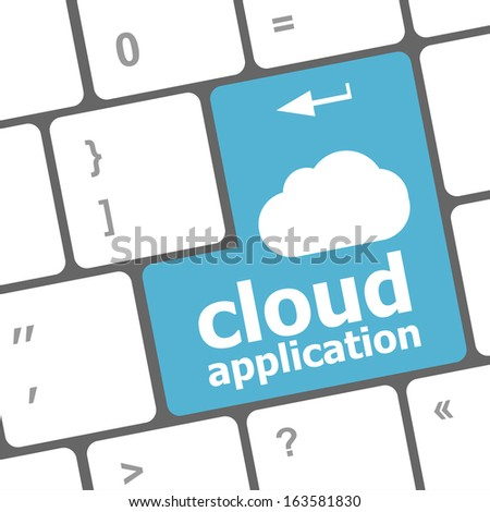 cloud application words concept on blue button of the keyboard, raster - stock photo