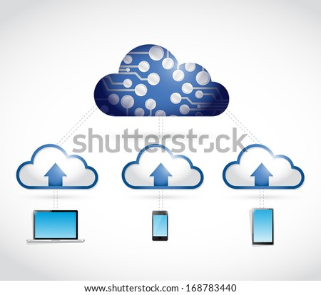 cloud binary electronic technology network connection. illustration over a white background - stock photo