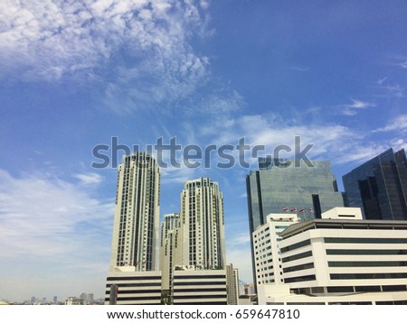 Cloud, Blue sky and  building at Bangkok, Thailand
