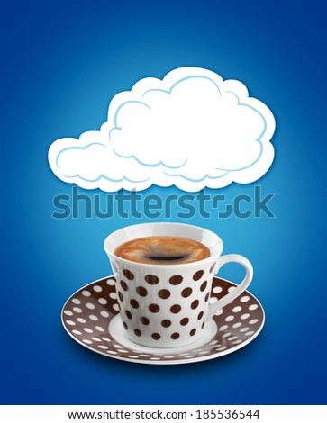 cloud bubble over a coffee cup - stock photo