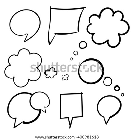 Cloud bubbles thought hand drawn black set of isolated raster - stock photo