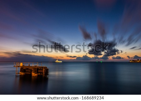 Cloud Burst over Ocean at Key West, Florida - stock photo