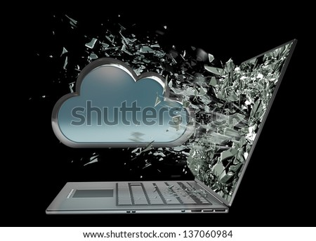 cloud capsule exit by a monitor of laptop screen isolated on black background High resolution 3d - stock photo