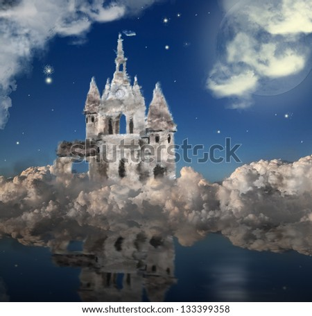 cloud castle under moon at night - stock photo