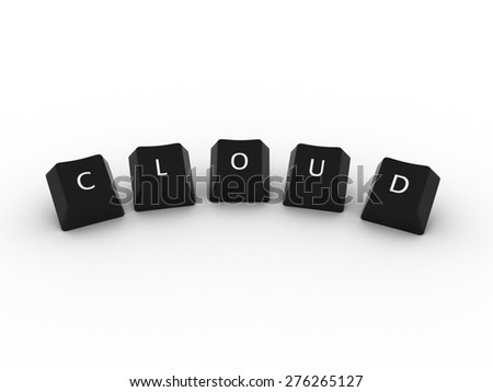 CLOUD Computer Keys on white background