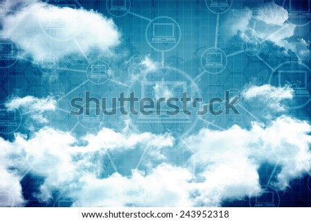 Cloud Computer Networking  background - stock photo