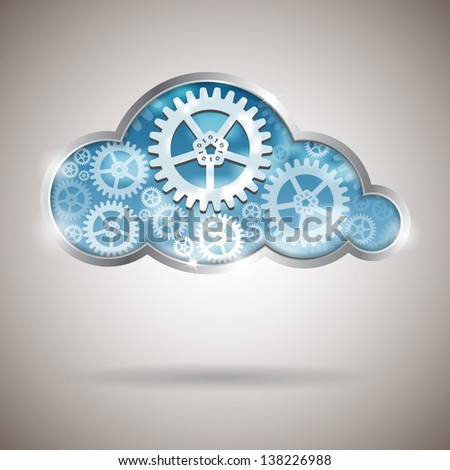 Cloud computing abstract illustration with gear wheels - stock photo
