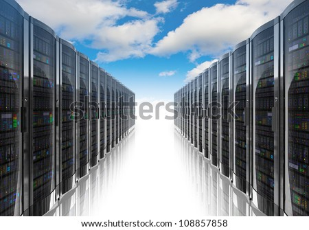 Cloud computing and computer networking concept: rows of network servers against blue sky with clouds - stock photo