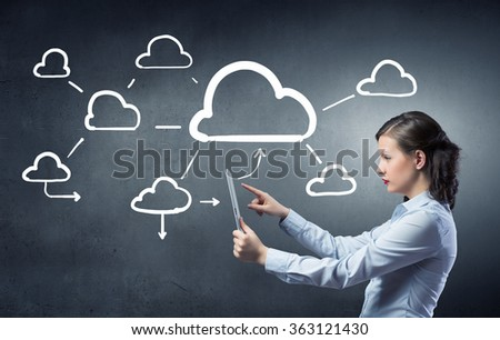 Cloud computing and connection concept - stock photo