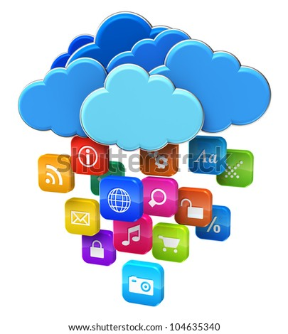 Cloud computing and mobility concept: blue glossy clouds with lot of color application icons isolated on white background