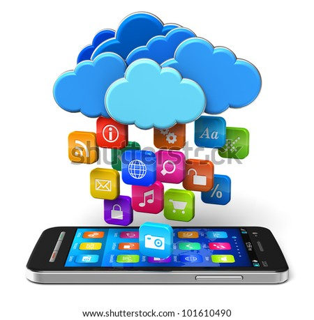 Cloud computing and mobility concept: touchscreen smartphone and blue glossy clouds with lot of color application icons isolated on white background - stock photo