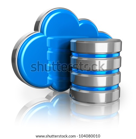 Cloud computing and remote data storage concept: blue glossy cloud and hard disk icon isolated on white background with reflection effect