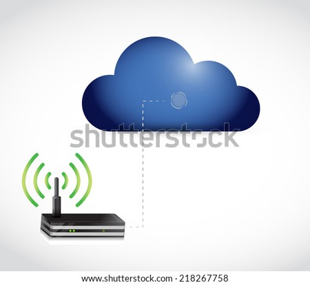 cloud computing and router connection illustration design over a white background - stock photo