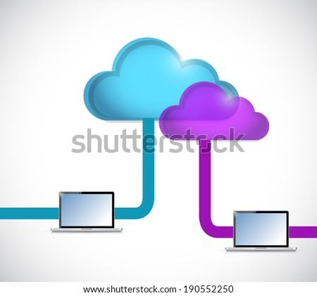 cloud computing and tablet connection illustration design over a white background
