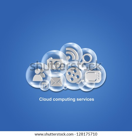 Cloud computing applications and services illustration - stock photo