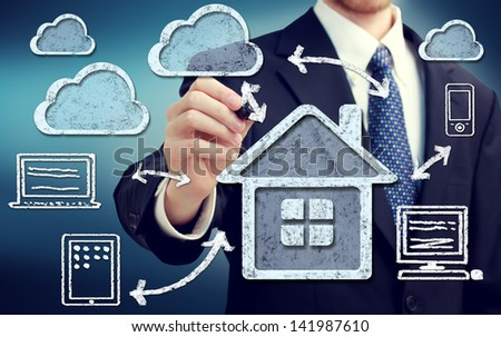 Cloud Computing at Home Concept over Blue Background - stock photo