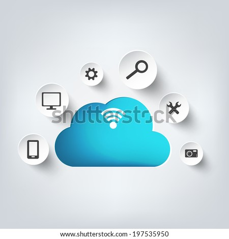 Cloud computing background with web icons. Social network. Mobile app. - stock photo