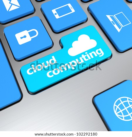cloud computing button on computer keyboard - stock photo