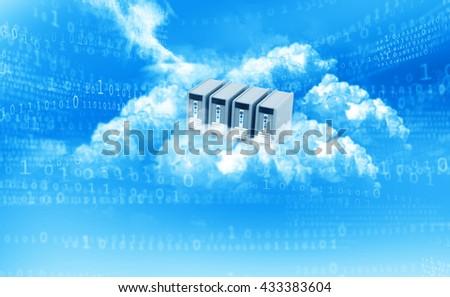 Cloud computing concept blue background. 3d illustration - stock photo