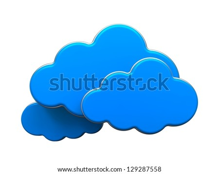 Cloud Computing Concept. Blue Clouds Isolated on White Background.