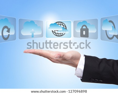Cloud computing concept , business man hand palm holding all kinds of icon about cloud computing with blue sky background - stock photo