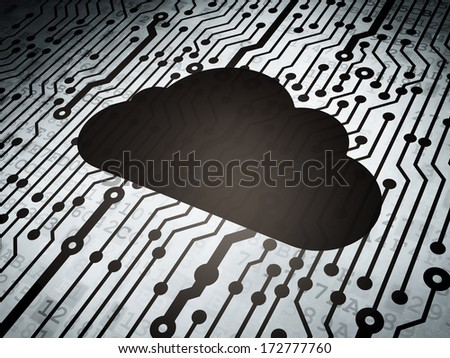 Cloud computing concept: circuit board with  Cloud icon, 3d render - stock photo