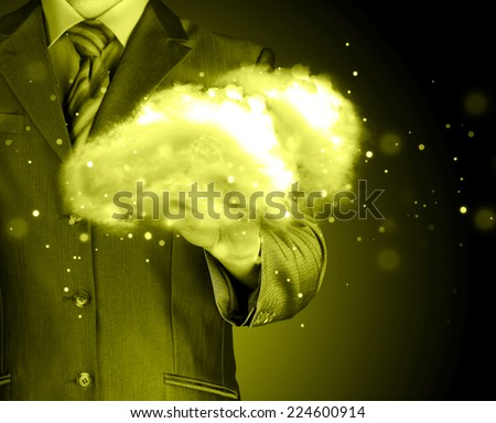 Cloud computing concept, close up of young businessman - stock photo