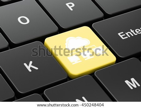 Cloud computing concept: computer keyboard with Cloud Network icon on enter button background, 3D rendering - stock photo