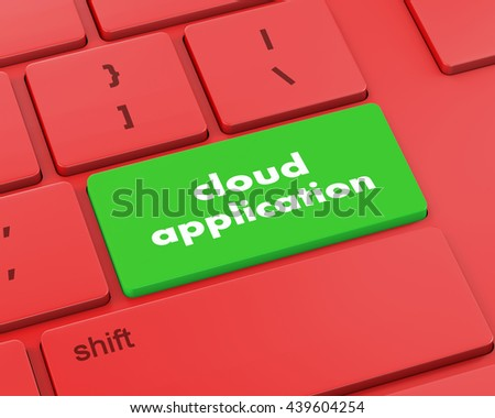 Cloud computing concept: computer keyboard with word Cloud Application on enter button, 3d rendering - stock photo