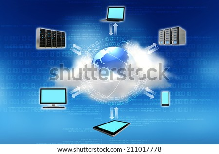 Cloud computing concept. Connecting the world with internet technology - stock photo