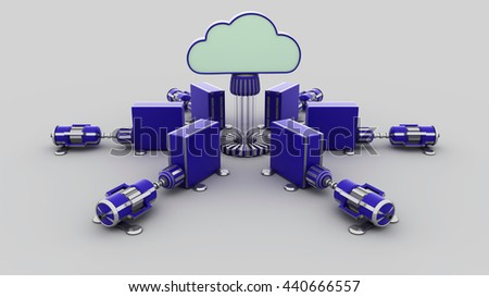 Cloud computing concept. 3D rendering