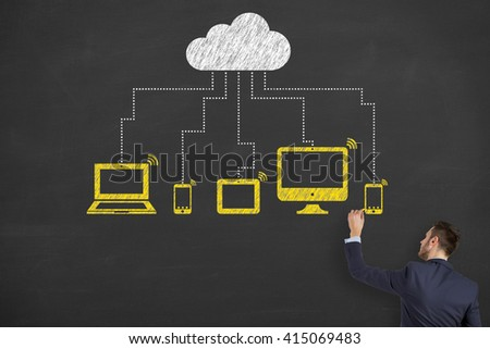 Cloud Computing Concept Drawing on Chalkboard, Modern Communication Technology