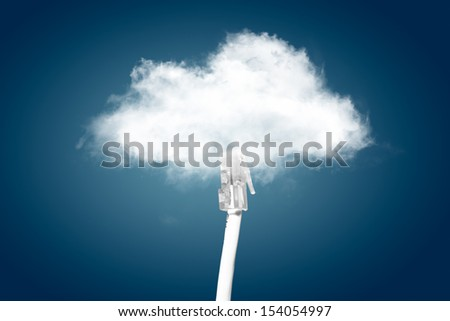 Cloud computing concept. ethernet cable is connected to the cloud.