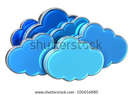Cloud computing concept: group of blue glossy clouds isolated on white background