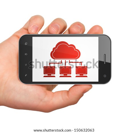 Cloud computing concept: hand holding smartphone with Cloud Network on display. Mobile smart phone in hand on White background, 3d render