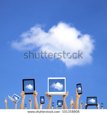 cloud computing concept.hands holding computer laptop smart phone tablet and touch pad - stock photo
