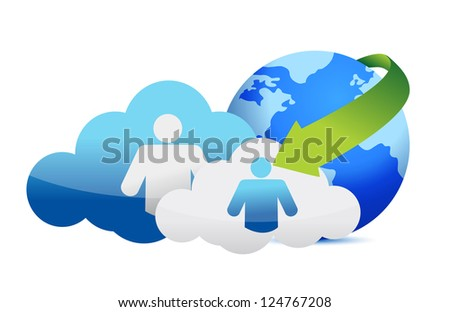 Cloud Computing concept illustration design over a white background - stock photo