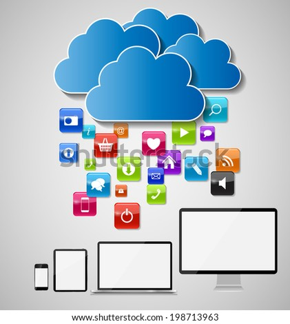 Cloud Computing Concept  Illustration. EPS 10