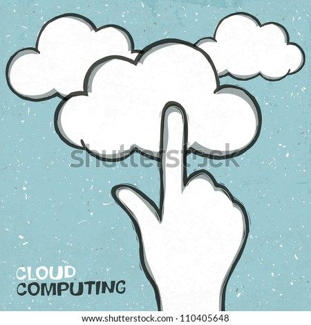 Cloud computing concept illustration. Raster version, vector file available in portfolio. - stock photo