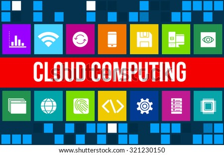 Cloud Computing concept image with technology icons and copyspace - stock photo