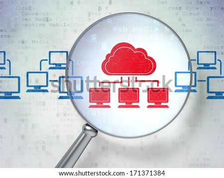 Cloud computing concept: magnifying optical glass with Cloud Technology icons on digital background, 3d render - stock photo