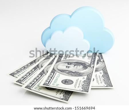 Cloud computing concept, money - stock photo