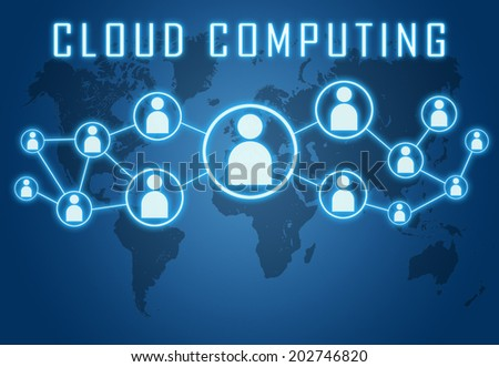 Cloud Computing concept on blue background with world map and social icons. - stock photo