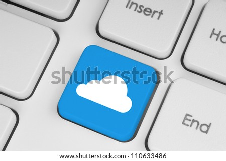 Cloud computing concept on computer keyboard