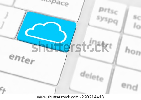 Cloud computing concept on computer keyboard with white keys.