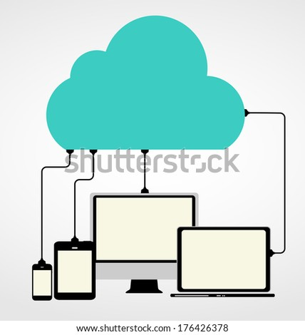 Cloud Computing Concept on Different Electronic Devices.  Illustration